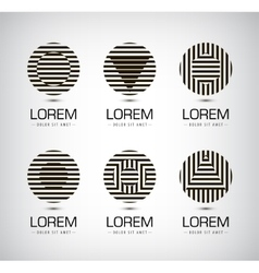 Set of black and white stripe geometric vector