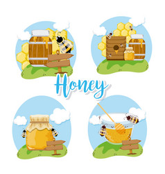Set of honey and bees vector
