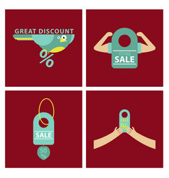 Set of sale banner template design discount icons vector