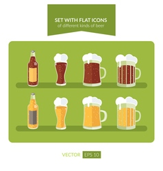 Set with flat icons of different kinds of beer vector