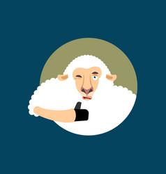sheep thumbs up and winks emoji ewe happy emoji vector image