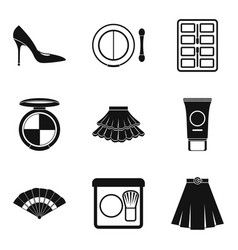 Shopping area icons set simple style vector