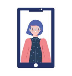smartphone with woman video content isolated vector image