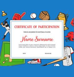 Softball tournament certificate participation vector