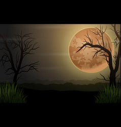 Spooky night dark forest with dry trees and full m vector
