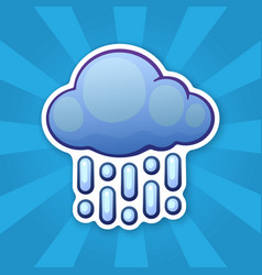 Sticker cloud with rain vector