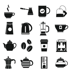 Tea and coffee icons set simple style vector image