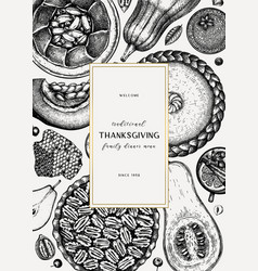 thanksgiving desserts menu design hand sketched vector image