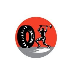 Tire sledgehammer workout woodcut vector