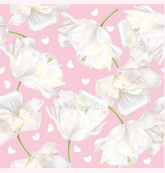 tulip hearts pattern pink vector image