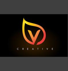 v leaf logo letter design with golden leaf outline vector image