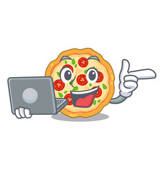 With laptop margherita pizza in a cartoon oven vector
