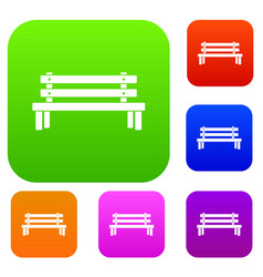 wooden bench set collection vector image