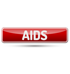 aids - abstract beautiful button with text vector image vector image
