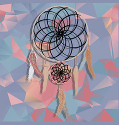 beautiful dream catcher on polygonal background vector image