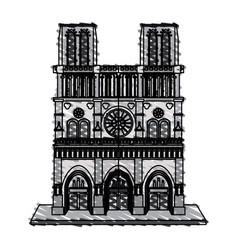 color crayon stripe building architecture antique vector image