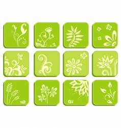 floral icons vector image vector image