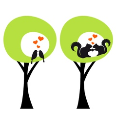 green trees with birds and squirrels in love vector image vector image