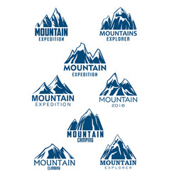 mountain icons for climbing or hiking sport vector image