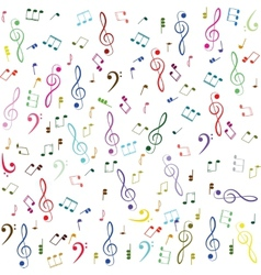 Music Colorful treble clef and notes vector image vector image