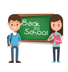 back to school girl boy pupil backpack books vector image