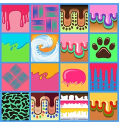 Colored seamless pattern drips background set vector image