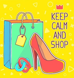 colorful of red womens shoes and green shop vector image vector image