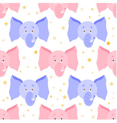 cute cartoon elephant seamless childish pattern vector image vector image