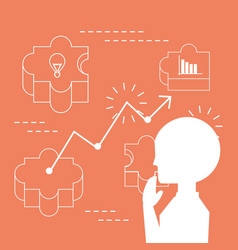 businessman thinking and planning ideas vector image vector image
