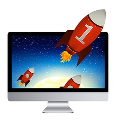 Computer With Red Rockets vector image