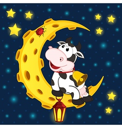 cow and ladybug on moon vector image vector image