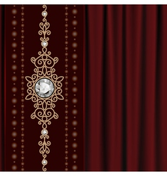 Gold jewelry on drape vector image