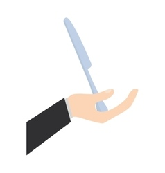 hand holding knife kitchen utensil vector image