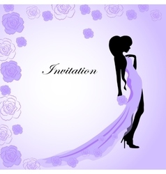 Invitation card with a girl in violet dress vector image vector image