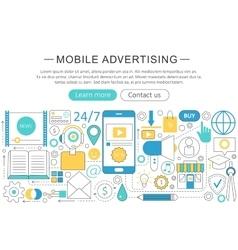 modern line flat Mobile advertising vector image vector image