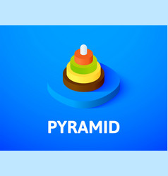 Pyramid isometric icon isolated on color vector