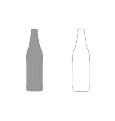 Beer bottle grey set icon vector