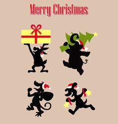 christmas animal silhouettes vector image