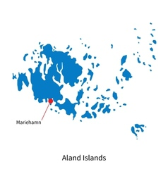 Detailed map of Aland Islands and capital city vector image vector image