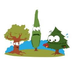 Funny Trees in Trouble vector image vector image