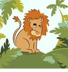 lion in jungle vector image