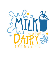milk dairy products logo symbol colorful hand vector image vector image