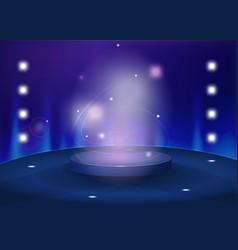 round pedestal in blue color tones vector image vector image