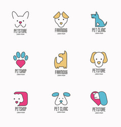 set of colorful logotypes with dogs for vet clinic vector image vector image
