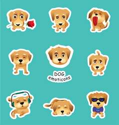set of stickers emojis with cute dog vector image vector image