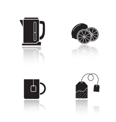 Tea equipment drop shadow icons set vector image