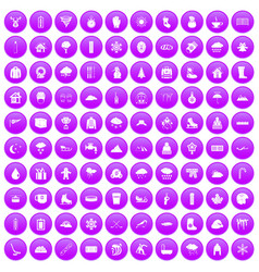 100 snow icons set purple vector