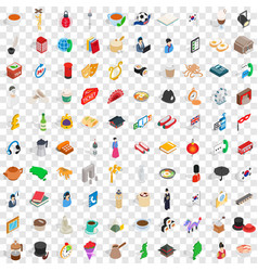 100 wellness icons set isometric 3d style vector
