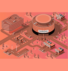 3d isometric territory with multi-storey vector