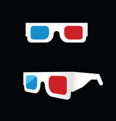 3d movie glasses white vector
